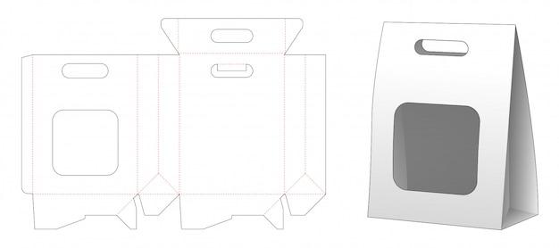 Papieren zak verpakking met venster gestanst sjabloonontwerp