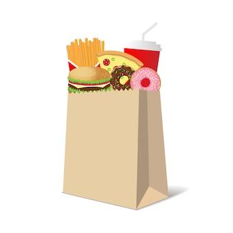 Papieren zak vol met gemeenschappelijke fastfood-snacks
