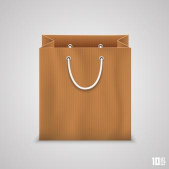 Papieren zak voor het winkelen van kunst. vector illustratie