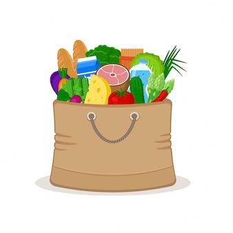 Papieren zakhoogtepunt van voedsel dat op witte illustratie wordt geïsoleerd