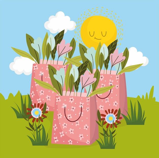 Papieren zakjes met bloemen