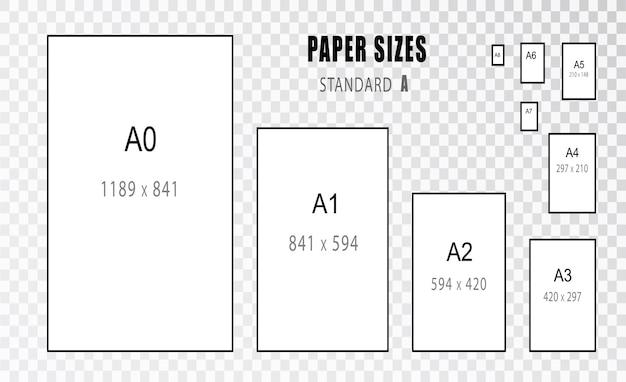 Papiergrootte. de grootte van. internationale a-serie papierformaatformaten van a0 tot a8.
