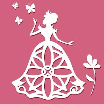 Papierhakkende prinses met vlinders en bloem