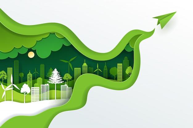 Papierkunst en digitale ambachtelijke stijl van landschap met groen eco stedelijk stad, aardedag en wereldmilieudagconcept.
