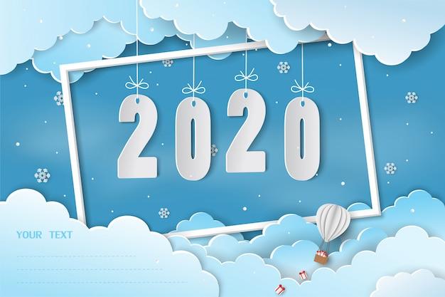 Papierkunst gelukkig nieuwjaar 2020-wenskaart