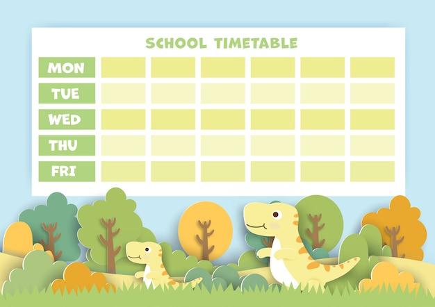 Papierkunst terug naar schoolrooster met schattige dinosaurus