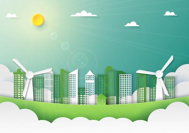 Papierkunst van aardlandschap en groene stadsachtergrond.