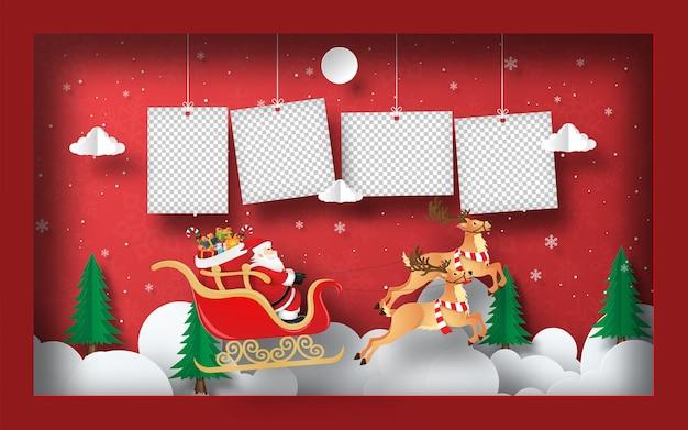 Papierkunst van blanco foto met de kerstman op een slee in frame