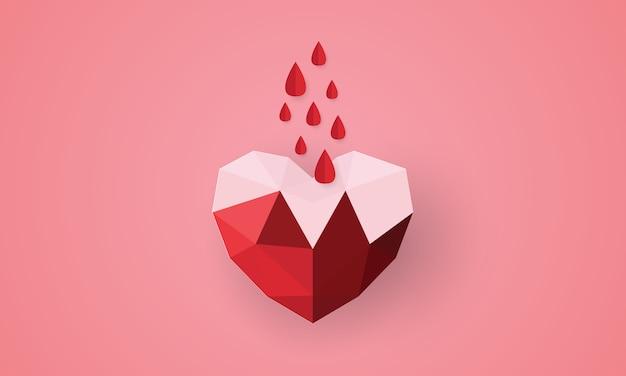 Papierkunst van bloeddruppel in veelhoekige papieren hartvorm, bloeddonatie