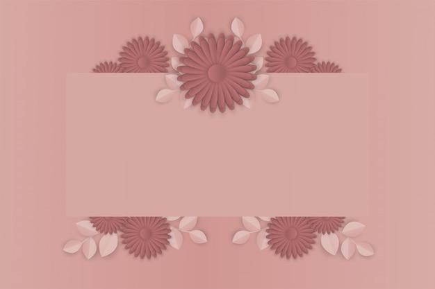 Papierkunst van bloem op frame achtergrond