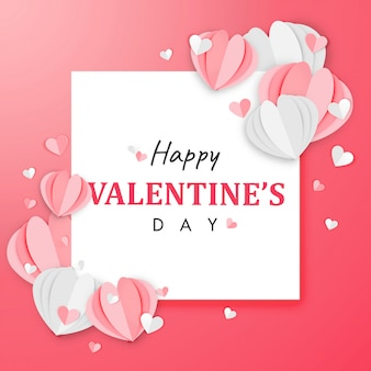 Papierkunst van de achtergrond van de gelukkige valentijnsdag