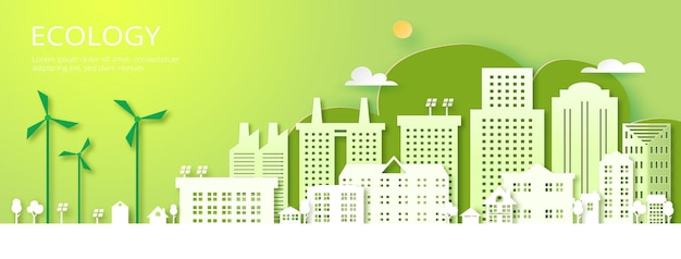 Papierkunst van duurzaamheid in groene ecostad, alternatieve energie en ecologiebehoudsconcept. .