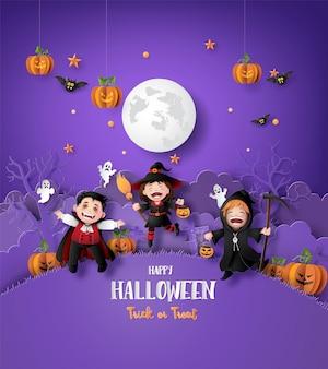 Papierkunst van gelukkig halloween