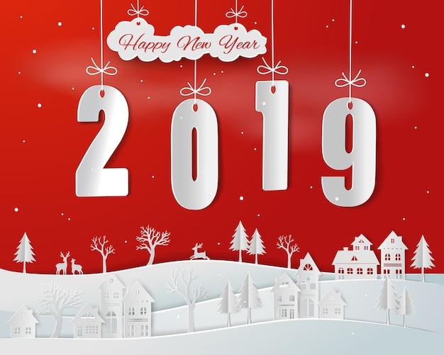 Papierkunst van gelukkig nieuw jaar 2019 op rode achtergrond