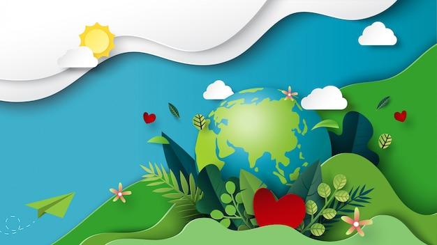 Papierkunst van groene omgeving en aarde dag concept