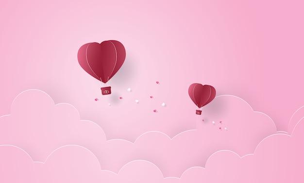 Papierkunst van hete luchtballon die in de hemel vliegen, valentijnsdag