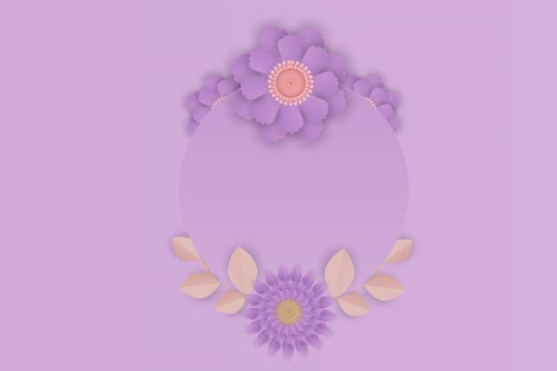 Papierkunst van paarse bloem op frame achtergrond