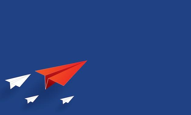 Papierkunst van papieren vliegtuigen die vliegen, inspiratiezaken