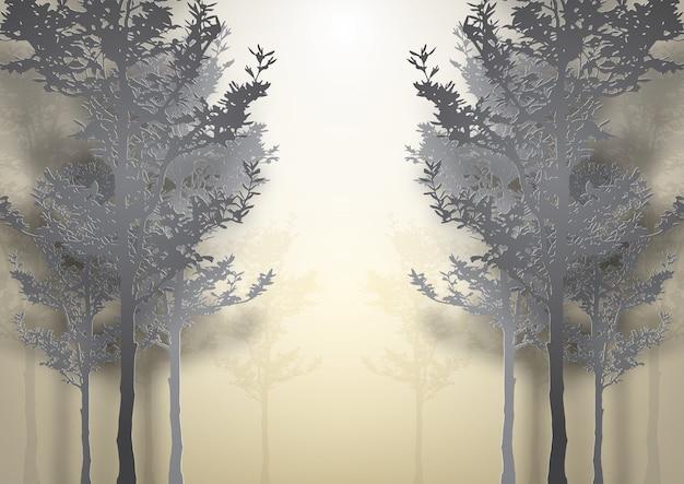 Papierkunst van prachtig bos