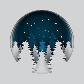 Papierkunst van prachtige nacht met origami sneeuw en boom.