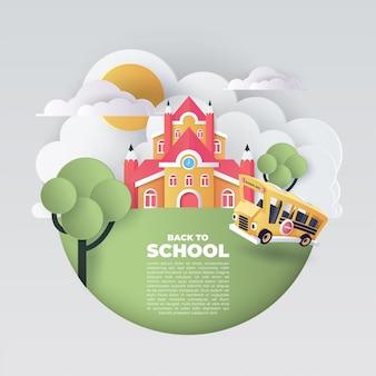 Papierkunst van schoolbus die bij de landweg, terug naar schoolconcept, vectorkunst en illustratie lopen.
