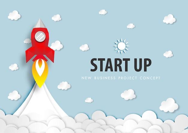 Papierkunst van startprojectconcept