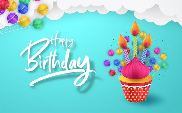 Papierkunst van vallende cupcake, gelukkige verjaardag, kunst en illustratie.