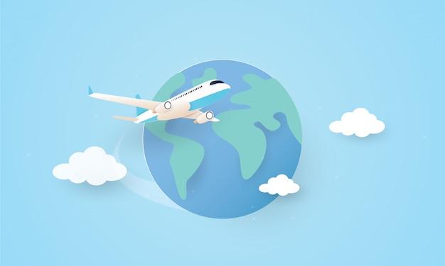 Papierkunst van vliegtuig die rond de wereld vliegen, vakantieconcept