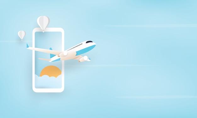 Papierkunst van vliegtuig die van mobiele telefoon, vakantieconcept vliegen