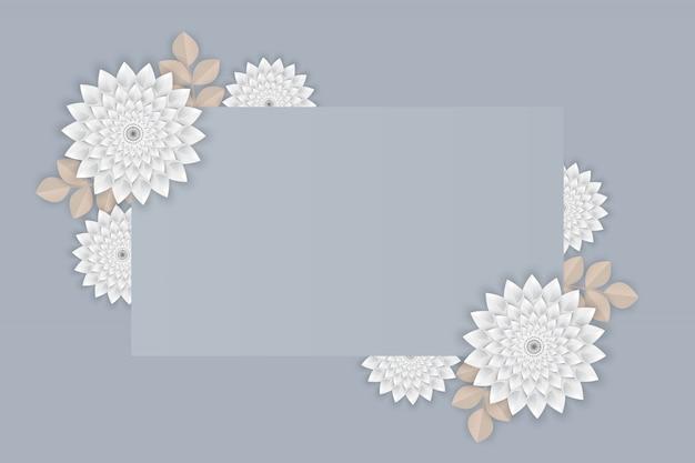 Papierkunst van witte bloem op frame op grijze achtergrond