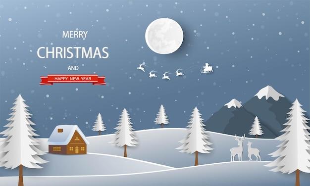 Papierkunstlandschap met de kerstman die over het bos vliegt op de achtergrond van de winternacht
