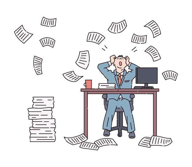 Papierlawine en chaos voor een kantoormedewerker
