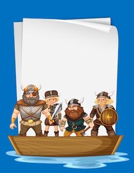 Papierontwerp met vikingen op boot