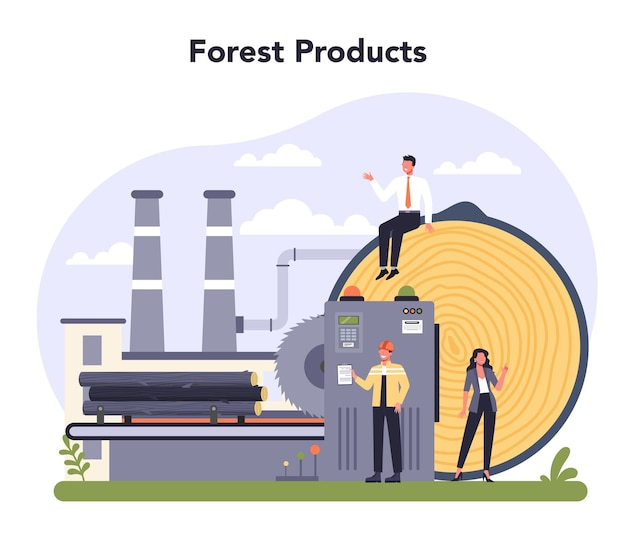 Papierproductie en houtindustrie concept