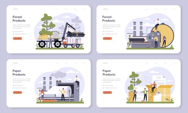 Papierproductie en houtindustrie webbanner of bestemmingspagina-set