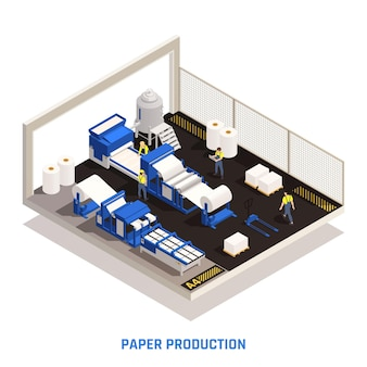 Papierproductie isometrische illustratie