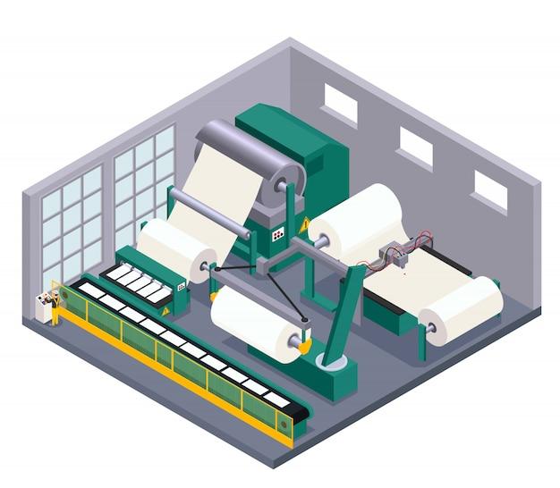 Papierproductie met transportbandapparatuur en vervaardigingssymbolen isometrisch