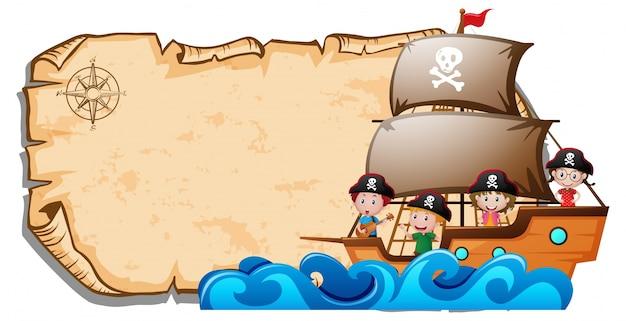 Papiersjabloon met kinderen op piraat schip