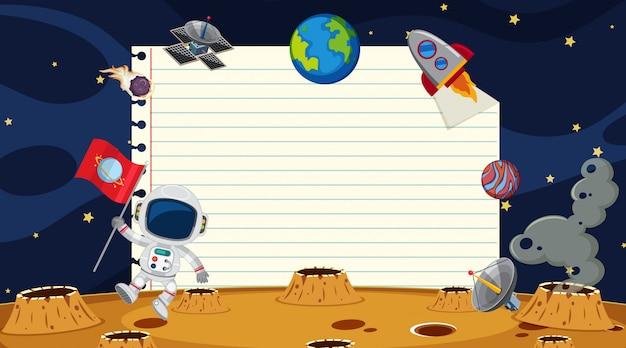 Papiersjabloon met ruimteachtergrond