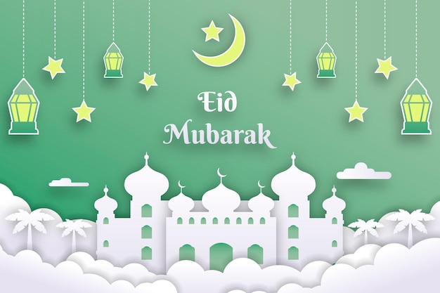 Papierstijl eid mubarak landscake met moskee en lantaarns