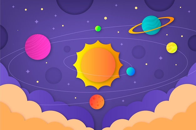 Papierstijl galaxy achtergrond met zon