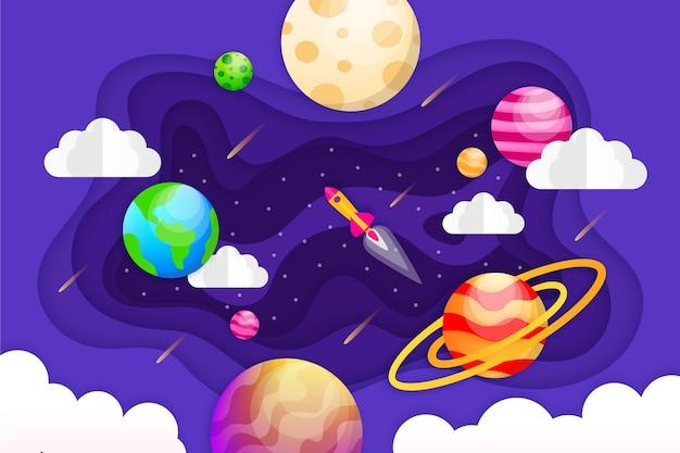 Papierstijl galaxy kleurrijke achtergrond