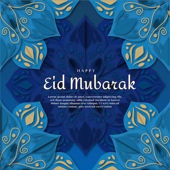 Papierstijl happy eid mubarak blauwe bloemendecoratie