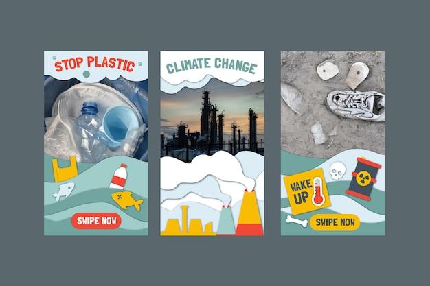 Papierstijl klimaatverandering instagram verhalencollectie