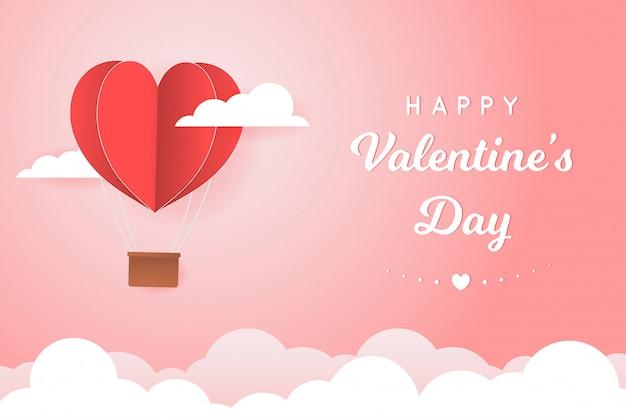 Papierstijl liefde van valentijn dag, ballon vliegt over wolk met hart zweven aan de hemel, paar huwelijksreis