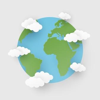 Papierstijl met wereld en wolken