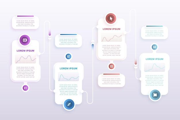 Papierstijl proces infographic sjabloon