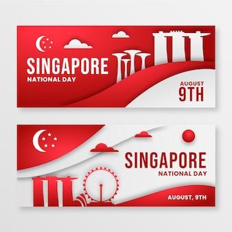 Papierstijl singapore nationale feestdag banners set