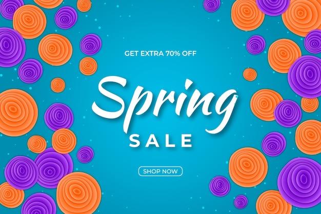 Papierstijl voor kleurrijke voorjaarsverkoop