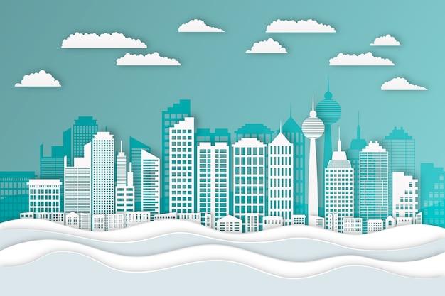 Papierstijl voor oriëntatiepunten skyline